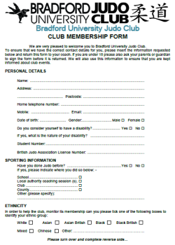 Bradford University Judo Club Membership Form