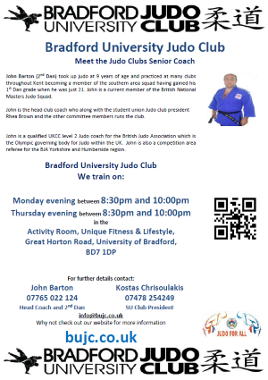 Bradford University Judo Club Flyer about meeting the coach