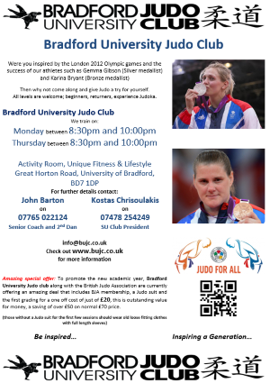 Bradford University Judo Club Flyer inspired by the Olympics