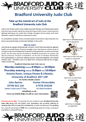 Bradford University Judo Club Flyer encouraging Judo take up