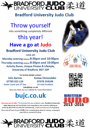 promotions available from bradford university judo club along with
