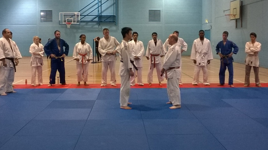 Kenny and Dermot demonstrating techniques at Bradford University Judo Club