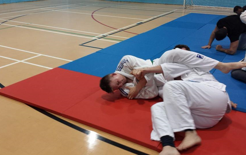 Groundwork techniques being tried out at Bradford University Judo Club