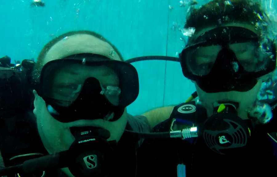 Sarah with John who as well as being the Judo coach is also a scuba instructor