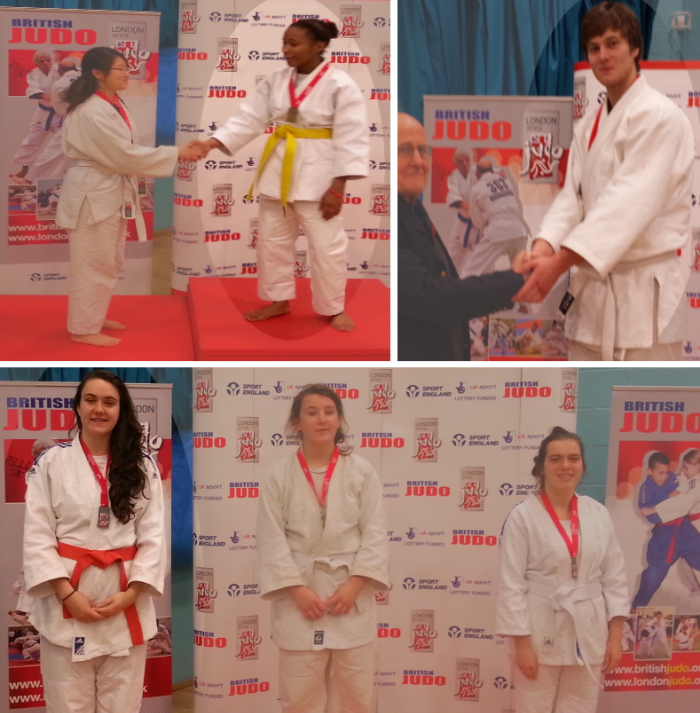 Rhea Brown, Katie Lomas and Robert Demidov receiving there medals at London University & College Senior Open 2013 Competition