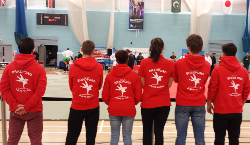 Judo Team Bradford watching the action at London University & College Senior Open 2013 Competition